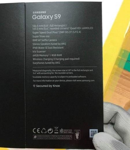 Samsung Galaxy S9, prodejní balení