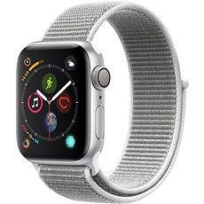 Apple Watch Series 4 40mm Silbernes Aluminiumgehäuse, mit einem weißen Sportarmband (muschelweiß) - Smartwatch