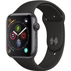 Apple Watch Series 4 44mm Space schwarz Aluminium mit schwarzem Sportarmband - Smartwatch