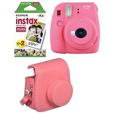 Fujifilm Instax Mini 9 pink rot + 20x Film + Hülle + Rahmen - Sofortbildkamera