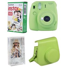 Fujifilm Instax Mini 9 Lime + 10x Fotopapier + Hülle - Sofortbildkamera