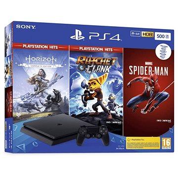 PlayStation 4 Slim 500GB + 3 Spiele (Spiderman, Horizon Zero Dawn, Ratchet and Clank) - Spielkonsole