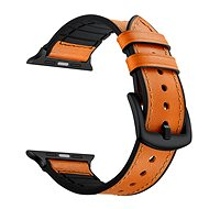 Eternico Apple Watch 38mm Leather and Silicone Band Orange - Uhrband
