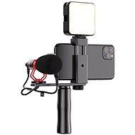 Apexel Video Rig mit Mikrofon und LED-Licht - Handyhalter