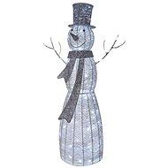 LED Weihnachts Schneemann Rattan, 124cm, indoor, kaltweiß, Timer - Weihnachtsbeleuchtung