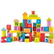 Woody Bauklötze Pastellwürfel mit Buchstaben und Zahlen
