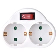 EMOS SCHUKO Verteilerbuchse 2 × flach + 1 × rund mit Schalter - Dopplestecker