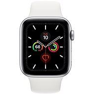 Apple Watch Series 5 44mm Silber Aluminium mit weißem Sportarmband - Smartwatch
