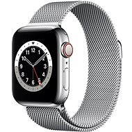 Apple Watch Nike Series 6 - 44 mm Cellular Silver Edelstahl mit Milanaise Armband in Silber - Smartwatch