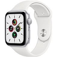 Apple Watch SE 44mm silberfarbenes Alugehäuse mit weißem Sportarmband - Smartwatch