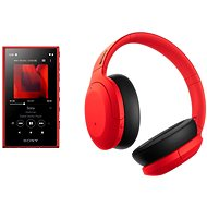 Sony MP4 16 GB NW-A105L rot + Sony Hi-Res WH-H910N rot-schwarz - Set
