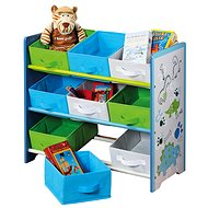 Kinderregal mit 9 Stoffboxen, blau - Regal
