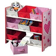 Kinderregal mit 9 Stoffboxen, pink - Regal
