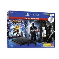 PlayStation 4 Slim  1TB  + 3 Spiele (The Last of Us, Uncharted 4, Ratchet und Clank) - Spielkonsole