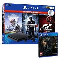 PlayStation 4 Slim 1TB + 4 hry (GT Sport, Uncharted 4, Horizon Zero Dawn) + Death Stranding - Spielkonsole