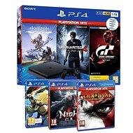 PlayStation 4 Slim 1 TB + 6 Spiele (GTS, Uncharted 4, Horizon Zero Dawn, GOW III, Gravity Rush 2, Nioh ) - Spielkonsole