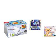Nintendo NEW 2DS XL White & Levander Green + Tomodachi Life + Pokémon Moon + Teddy Together - Spielkonsole