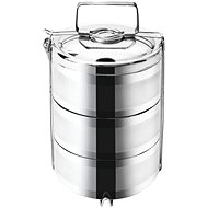 Thermo-Transportbox für Lebensmittel aus Edelstahl 3-stöckig - 16 cm