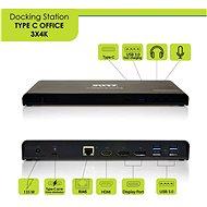 PORT CONNECT Dockingstation 11in1 3 x 4K USB-C + USB 3.0 - Dockingstation
