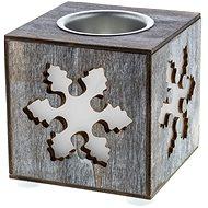 RETLUX RXL 354 Weihnachtsdekoration Kerzenhalter Holzblock mit Schneeflockenmotiv - warmweiß - Weihnachtslaterne