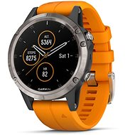 Garmin Fenix 5 Plus Sapphire Titanium Optic Solar Flare Orange Band - Smartwatch