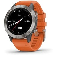 Garmin Fenix 6 Sapphire, Titanium/Orange Band (MAP / Music) - Smartwatch