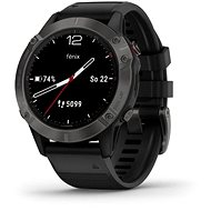 Garmin Fenix 6 Sapphire, Gray/Black Band (MAP/Music) - Smartwatch