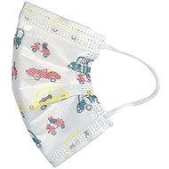 RespiLAB Einwegmasken für Kinder - Motiv: Autos - weiß (10 Stück) - Gesichtsmaske
