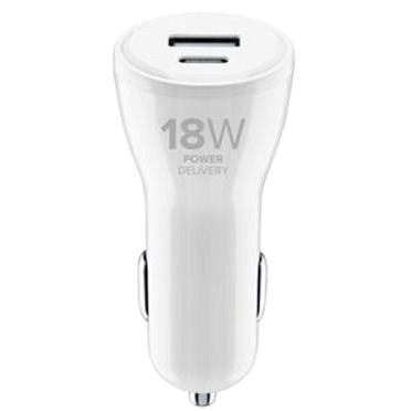 Cellularline Dual mit USB-C und USB-Anschluss 30W weiß - Autoladegerät