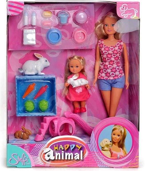 Simba glückliche Tierpuppe, Steffi und Evi + Hund Puppe