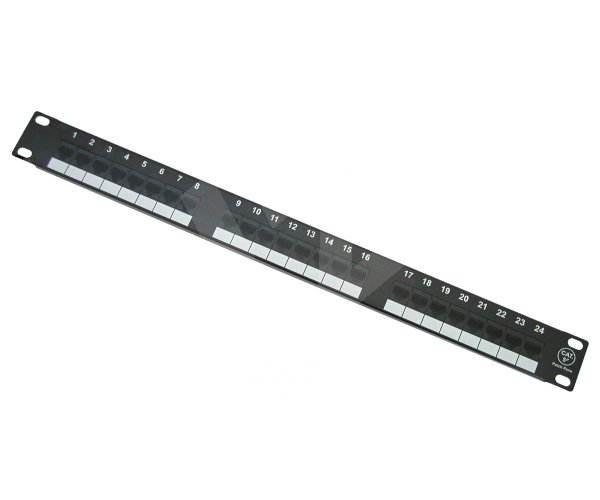 Patch panel osazený, 24 portů RJ45 kat.5e, blok 110, černý -