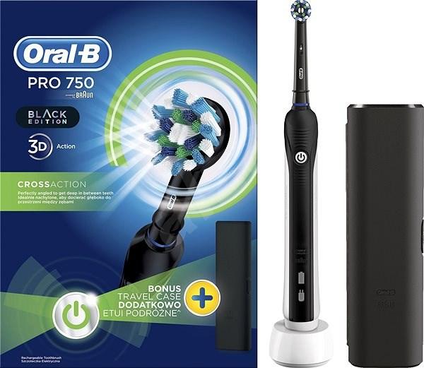 Oral B Pro 750 Black Cross Action + Reiseetui - Elektrische Zahnbürste adc9df80fade6