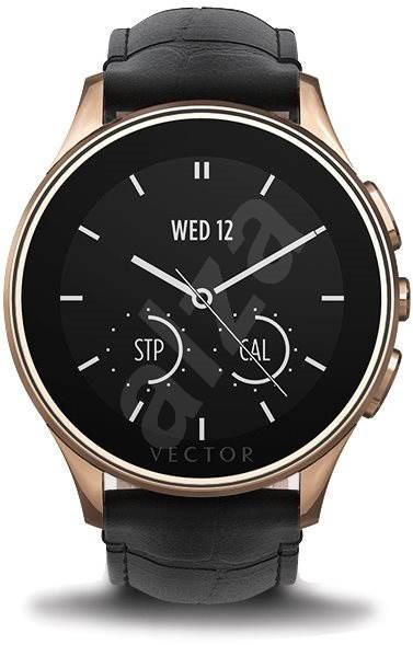 Vector Luna Rose Gold Stahl mit schwarzem Krokolederarmband und Wirkung - Smartwatch
